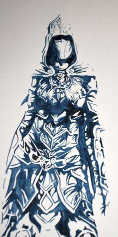 "Nichelle Lyons, ""Skyrim: Nightingale"" Watercolor on paper"