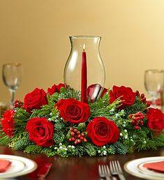 Red Holiday Cheer Centerpiece - Royal Fleur Florist - Larkspur, CA 94939 Candle Arrangements, Christmas Flower Arrangements, Christmas Flowers, Christmas Candles, Floral Arrangements, Christmas Wreaths, Christmas Crafts, Christmas Decorations, Christmas Ornaments