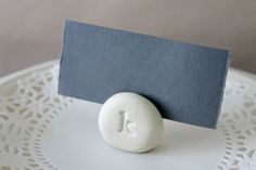 Stamped Monogram Place Card Holders - Seating Cards Stands - Custom Color - Handmade Clay Photo Holder