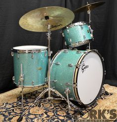 Gretsch USA Custom 3pc Drum Set Turquiose Glass Glitter Round Badges   eBay