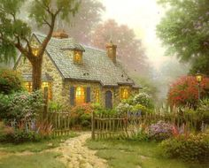 Thomas Kinkade ... Foxglove Cottage
