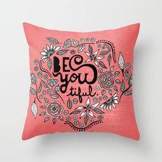 Be You Tiful- black peach Throw Pillow