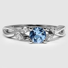 White Gold Sapphire Willow Ring set with a Super Premium Blue Round Sapphire #BrilliantEarth