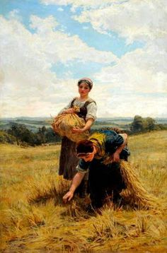Reproduction with Oil painting effect of painting made by Morgan Frederick - Gleaners 1880 Paintings I Love, Beautiful Paintings, Mary Cassatt, Country Scenes, Victorian Art, Art Database, Art Uk, Fine Art, Oeuvre D'art