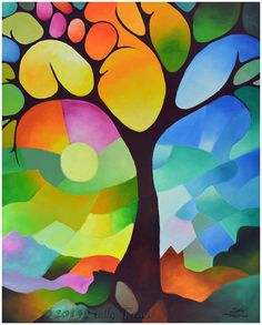 Tree Print 8x10 inches from original painting DREAMING TREE abstract landscape