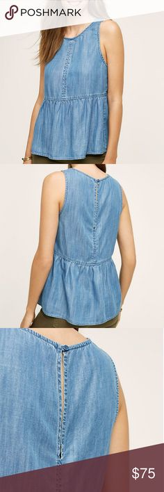 """MORE RDUCED NWT Anthropologie Arabella empire top Brand new, never worn, still in plastic!  Stylish peplum top with the look of denim and chambray.  From the brand Cloth & Stone.  Size large.  Keyhole detailing on back.  24"""" long.  Lyocell.  Adorable basic that will look great with a colorful bottom and great accessories! Anthropologie Tops Tank Tops"""
