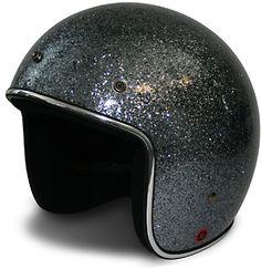 Glitter dark silver motorcycle helmet