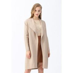 Ready to have some fun this layering season? Top your chic fall outfits. with this knit coat! It boasts an open front that's so ready for topping thick sweaters and knit dresses. Oversized notch lapels add just a smidgen of drama to the otherwise understated design. Also available in olive. - Wide collar - Open front - Inserted side pockets - Split hem - Knit fabric provides flexibility - Not lined - 100% Acrylic - Hand wash cold Size Length Bust Shoulder Sleeves XS-S cm 93 Free 38 54