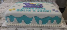 Baby its cold outside baby shower cake - side view
