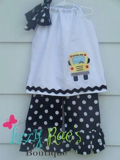 Back to School Ruffle Pants Outfit- Girls sizes 5T-10. $40.00, via Etsy.