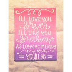 Canvas quote i'll love you forever i'll like you by kismetcanvas