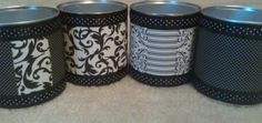 DIY custom storage cans made from formula cans. Super cute! Black and white. Organizing made easy, cheap and cute!
