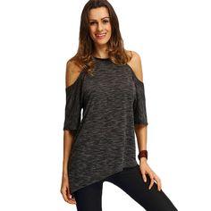 46db0d1d783ce SheIn Summer Woman Fashion Tops Ladies Tee Shirts Casual Half Sleeve Cold  Shoulder Black Crew Neck Asymmetric Hem T-shirt