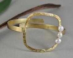 Pearl large cuff bracelet, square bangle, chunky bracelet, open bangle, brass jewelry, wedding jewelry, hammered cuff, bridesmaid gift