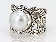 Artisan Collection Of Bali™ round white cultured mabe pearl solitaire, sterling silver band ring. Measures approximately x Not sizeable. Finished under gallery. Silver Pearl Ring, Silver Pearls, Pink Diamond Jewelry, Gold Jewelry, Jewlery, Wedding Jewelry, Wedding Rings, Types Of Rings, Vintage Engagement Rings