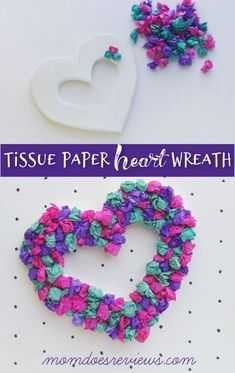 Tissue Paper Heart Wreath Don't miss this fun Valentine's Day Cra Valentine's Day Crafts For Kids, Valentine Crafts For Kids, Crafts For Seniors, Mothers Day Crafts, Valentines Day Decorations, Valentines For Kids, Toddler Crafts, Senior Crafts, Homemade Valentines