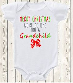 Christmas Pregnancy announcement idea for grandma and grandpa ONESIE ® brand bodysuit or shirt pregnancy reveal for grandparents or family This