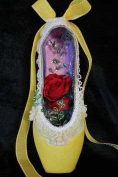 Check out this item in my Etsy shop https://www.etsy.com/listing/493640316/decorated-pointe-shoe-beauty-and-the