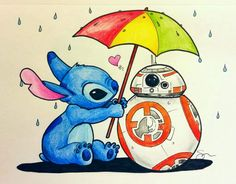 BB-8 and Stitch sharing an umbrella <3