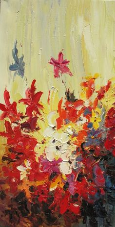 Hand-painted Abstract Oil Painting - Colorful flowers