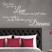 You Know You Re In Love When You Can T Fall Asleep Wall Sticker Decals Wall Stickers Bedroom Wall Quotes Decals