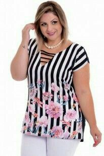 Blusa Plus Size Geometric Royal Curvy Fashion, Fashion 2017, Plus Size Fashion, Girl Fashion, Fashion Outfits, Womens Fashion, Fashion Trends, Dresses For Apple Shape, Looks Plus Size