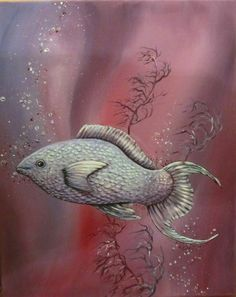 Acrylmalerei - SPARKLING FISH - FISCH KUNST LILA GEMALT GESCHENK - ein Designerstück von acrylfee bei DaWanda