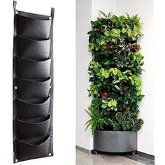 KORAM 7 Pockets Vertical Garden Wall Planter Living Hanging Flower Pouch Green Field Pot Felt Indoor/Outdoor Wall Mount Balcony Plant Grow Bag for Herbs Vegetables and Flowers (10pcs of Plant tags) #vegetablesindoor #greengardening #gardenplanters #indoorvegetablegardening