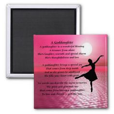 Shop Ballerina Sunset Goddaughter Poem Magnet created by Lastminutehero. Goddaughter Gifts, Godchild, Ballerina Silhouette, Naming Ceremony, Sunset Background, Daughter Of God, Magnets, Laughter, Poems