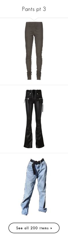 """""""Pants pt 3"""" by styledbyry ❤ liked on Polyvore featuring pants, leggings, bottoms, women, leather leggings, khaki trousers, leather trousers, rick owens, elastic waist khaki pants and black"""