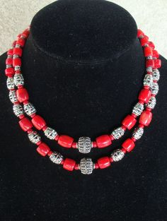 Silver and Red Bamboo Coral Necklace with by LolasWonders on Etsy Women Jewelry, Unique Jewelry, Cowls, Bamboo, Scarves, Beaded Necklace, Trending Outfits, Handmade Gifts, Earrings