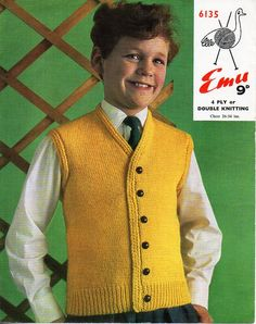 "childrens waistcoat knitting pattern pdf DK / 4ply childs vest gilet 26-34"" DK light worsted 8ply 4ply sport pdf instant download by Minihobo on Etsy"