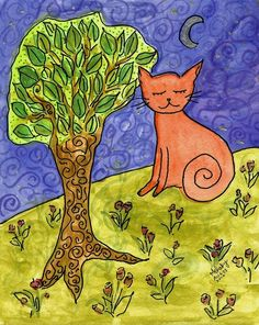 Cat on a Hill Art Prints by Melsky W