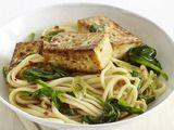 Udon with tofu. I added more veggies, shitake mushrooms, & fresh lime. nom...nom...nom