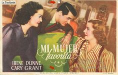 Mi Mujer Favorita - Programa de Cine - Cary Grant - Irene Dunne Cary Grant, Irene Dunne, Cards, Movie Posters, Movies, World, Old Books, Old Movies, Brochures