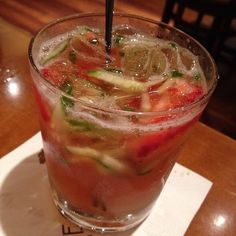 P.F. Chang's Strawberry Cucumber Limeade 1 Bottle (59 oz) Simply Limeade 1 lb strawberries, washed and sliced 1 English Cucumber (cut julienne) Add 7up to sweeten to taste. Stir and fold ingredients together. Makes enough for a large punch bowl. Enjoy!