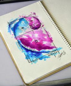 Sequencia Fibonacci - watercolor tattoo sketch - Thiago Padovani