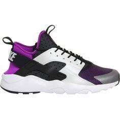 NIKE Air huarache run ultra neoprene and mesh trainers ($145) ❤ liked on Polyvore featuring shoes, nike, sneakers, black white, strappy shoes, white and black shoes, laced up shoes, nike shoes and fleece-lined shoes