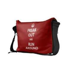 Freak Out and Run Around Commuter Bag Custom Messenger Bags, Cool Messenger Bags, Commuter Bag, Pack Your Bags, Run Around, Things To Buy, Travel Bag, Purses And Bags, Gym Bag