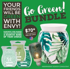 Got green? Save with Scentsy's Go Green Bundle--a full size warmer, a mini warmer and three bars! #gogreenbundle #greenforstpattysday #bundleandsave #scentsbytracy https://tracytodaro.scentsy.us