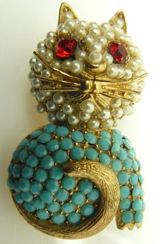 Vintage+Signed+Hollycraft++CAT+Brooch+Pin+Turquoise+Pearls+&+Rhinestones+