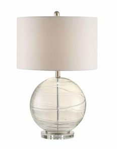 Bring a unique touch of modern style to your indoor lighting design with this glass Table Lamp. This lamp features a spherical glass base and white drum shape shade. This lamp is perfect on an office desk, end table or even on your bedside table. Transitional Lamps, Coaster Fine Furniture, Globe Lamps, Lamp Shade Store, Glass Texture, Glass Globe, Drum Shade, Glass Table, Home Decor Accessories