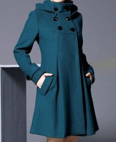 . #coat #teal #fashion ~ would look great with a teal Miche Bag!
