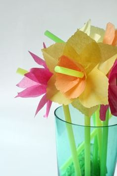 Fun drinking straw bouquet of spring flowers. #kids #crafts