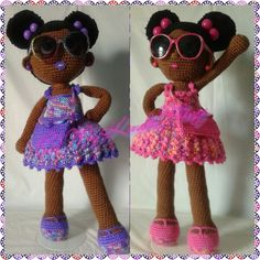 Crochet Dolls; African American girls, sisters E'niyah and Ma'kayah with afro puffs and removable purses!