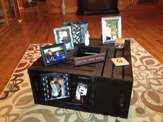 Coffee table made from crates you can buy at Michael's. Spray painted black and screwed together!