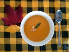 Pumpkin Apple Sage Soup (aka Thanksgiving Soup) by Turnip & Bean! Vegan, vegetarian, hearty and yummy for on a cold autumn day! Thanksgiving Soups, Vegan Vegetarian, Cantaloupe, Sage, Beans, Pumpkin, Cold, Apple, Autumn