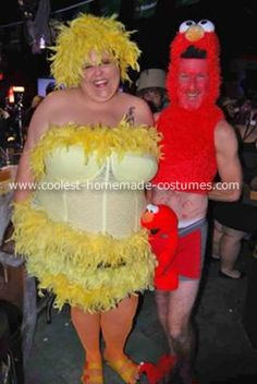 Homemade Sesame Street Revisited Costumes: The costumes you see here were NOT brought to you by Sesame Street.  I, being a big beautiful woman, decided on a Big Bird costume. My husband was supposed