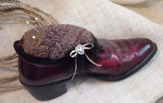 Cowboy Boot Pincushion Western Cowgirl Upcycled by ITSYOURCOUNTRY, $24.99