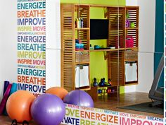 I am going to use that colorful word inspiration wall In our home! Sports & Outdoors - Sports & Fitness - home gym - http://amzn.to/2jsMKm8